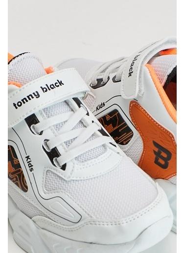 Tonny Black Beyaz Oranj Çocuk Spor Ayakkabı Tbz31 Beyaz